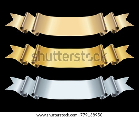 Gold and Silver ribbon banner vector