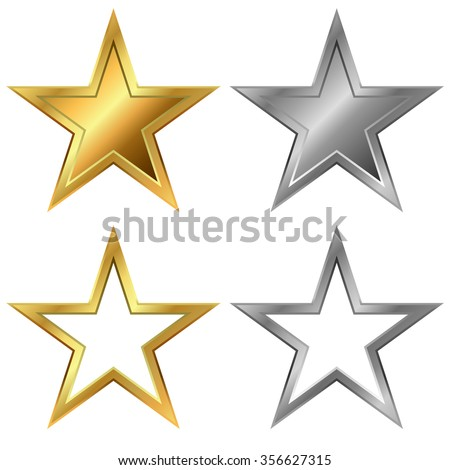 Gold and silver stars vector template isolated on white background.