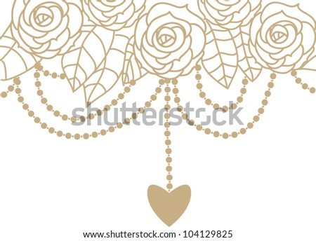 Gold and white invitation cards with roses