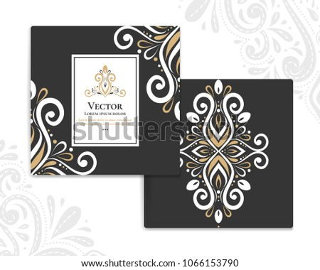 Gold and white vintage greeting card on a black background. Luxury ornament template. Mandala. Great for invitation, flyer, menu, brochure, postcard, background, wallpaper, decoration, packaging.