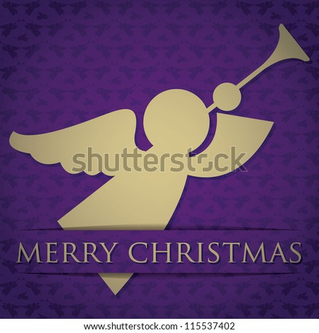 "Gold angel ""Merry Christmas"" card in vector format."