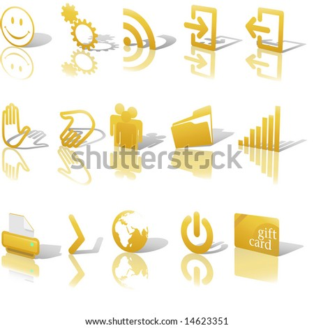 gold angled icon symbol set 2
