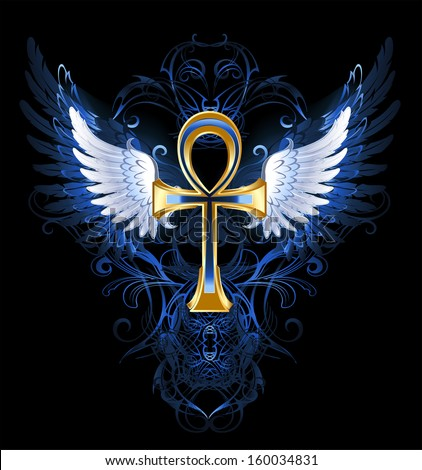 gold ankh with white wings on a dark blue patterned background