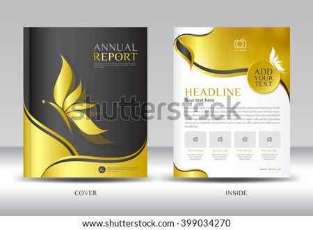 gold annual report template vector illustration brochure flyer