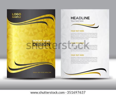 Abstract yellow black and white magazine brochure page design gold annual report vector illustrationcover designbrochure flyerbookletleaflet spiritdancerdesigns Images