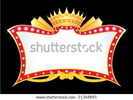 Gold antique frame with diamonds and crown - stock vector