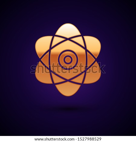 Gold Atom icon isolated on dark blue background. Symbol of science, education, nuclear physics, scientific research. Electrons and protons sign.  Vector Illustration