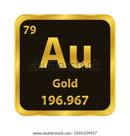 Gold  Au chemical element icon. The chemical element of the periodic table. Sign with atomic number.  ストックフォト ©
