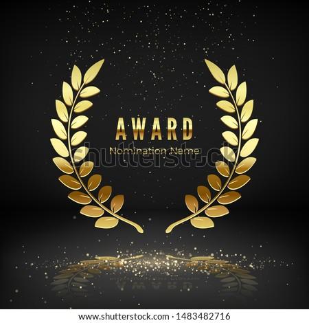 Gold award emblem with falling confetti. Laurel wreath on dark background. Icon of golden laurel branch.  Rewarding the best. Vector illustration