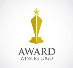 Gold award of winner cup abstract vector and logo design or template champions business icon of company identity symbol concept