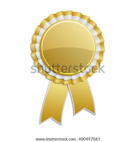 Gold award rosette with ribbon ストックフォト ©