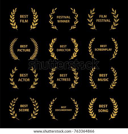 Gold award wreaths on black background. Film Awards. Vector illustration.