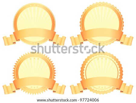 Gold Awards/ Illustration of a set of championship gold seals and awards with parchment scroll banners