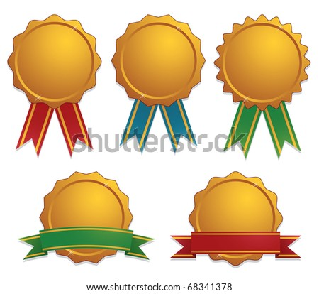 gold awards with ribbons isolated on white