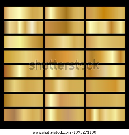 Gold background texture vector icon seamless pattern. Shiny golden metal foil gradient set
