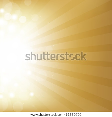 Gold Background With Star, Vector Illustration