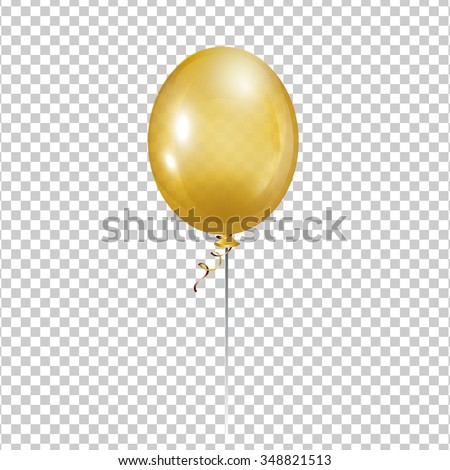 Gold Balloon. Transparent isolated vector air ball.