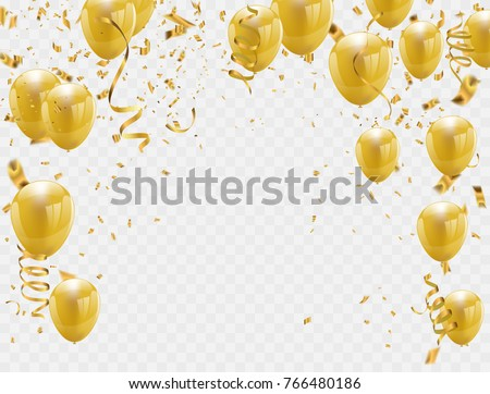 gold balloons and confetti party background, concept design. Celebration Vector illustration.