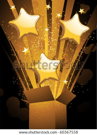 stock vector : Gold balloons and stars bursting out of gift box