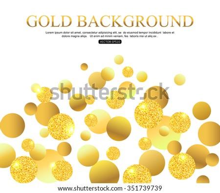 gold balls on white background