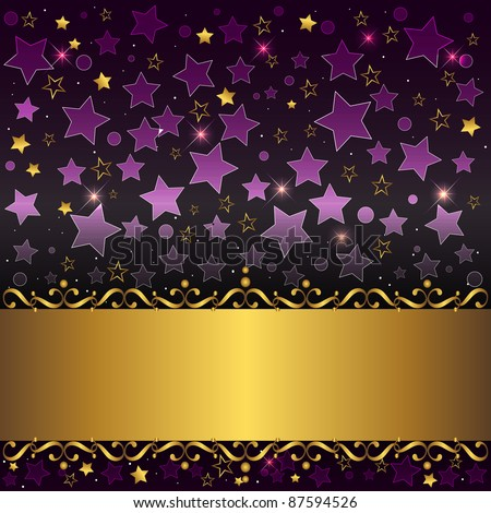 Gold banner with curlicues on stars background. 10eps vector.