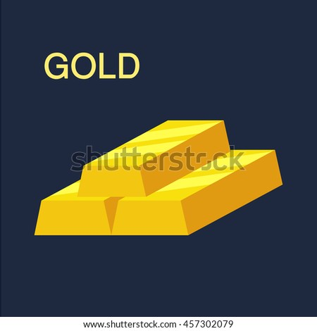 Gold bar, Financial concept, Vector illustration.