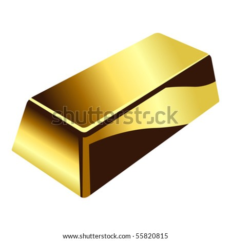 Gold bar isolated over white square background