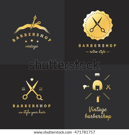 gold barbershop logo vector set