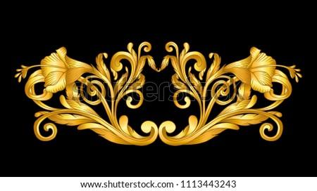 gold baroque frame scroll