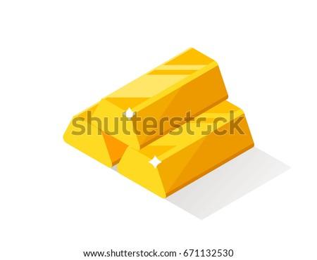 Gold bars or ingot. Flat style isometric illustration.