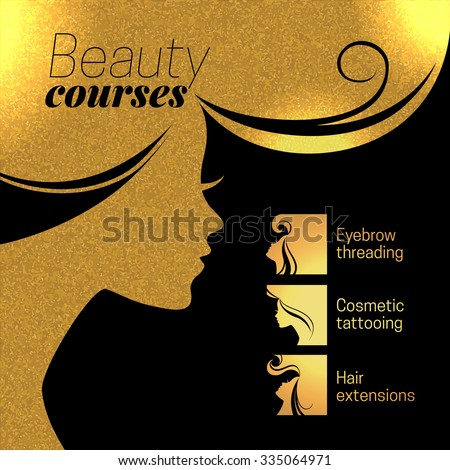 gold beautiful girl silhouette