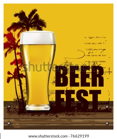 gold beer poster with summer scene