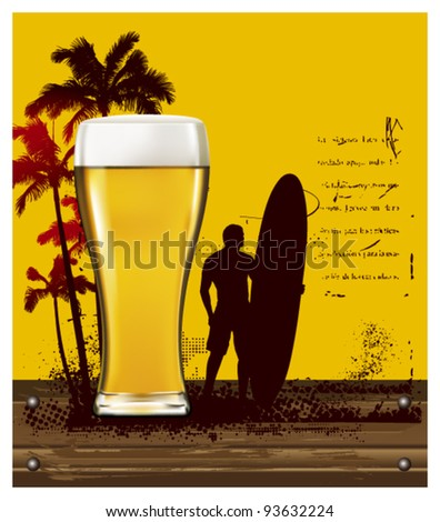 gold beer poster with summer scene and surfer