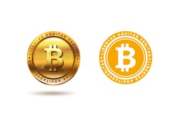 Gold Bitcoin coin Logo design vector template. Two versions of Fintech Blockchain Logotype: Flat and 3D