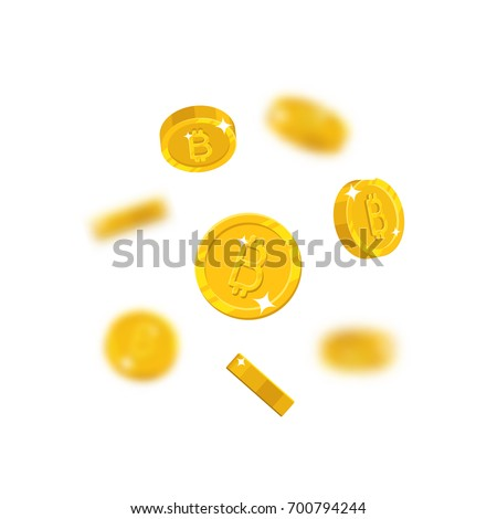 gold bitcoins flying cartoon