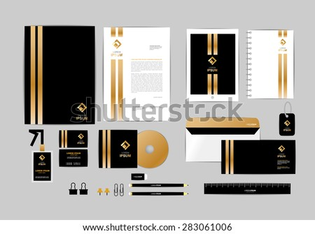 Silver and gold corporate business card download free vector art gold black and silver corporate identity template for your business includes cd cover business reheart Choice Image