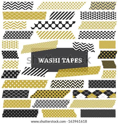 gold  black and white washi