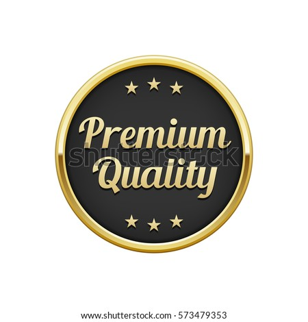 Gold black premium quality round badge, banner