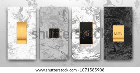 Gold, black, white marble template, artistic covers design, colorful texture, realistic cube, backgrounds. Trendy pattern, graphic poster, geometric brochure, cards. Vector illustration.
