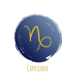 Gold blue Capricorn zodiac symbol vector, round hand painted horoscope sign. Astrological icon isolated. Capricorn astrology zodiac sign circle clip art gold and dark blue on white background.