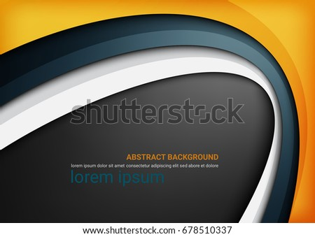 Gold, Blue, White curve line background. Paper layer overlap. Space for text and message. Design for website, poster and brochure