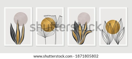 Gold Botanical wall art vector set. Earth tone boho foliage line art drawing with  abstract shape.  Abstract Plant Art design for print, cover, wallpaper, Minimal and  natural wall art. Foto stock ©