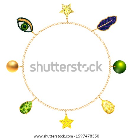 Gold bracelet, necklace, frame with precious accessories, crystals, beads, emeralds, decorations, stars, golden chains, leaves and beadworks. Personal fashion accessory design. 3D Vector illustration.
