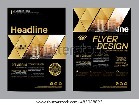 Gold Brochure Layout design template. Annual Report Flyer Leaflet cover Presentation Modern background. illustration vector in A4 size #483068893