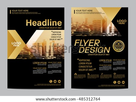 Gold Brochure Layout design template. Annual Report Flyer Leaflet cover Presentation Modern background. illustration vector in A4 size #485312764