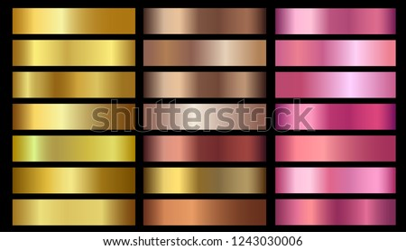 Gold, bronze, rose gold metallic foil texture vector gradients set. Golden metallic pink, beige gradient colorful illustration gradation for backgrounds, banner, user interface, flyers, ribbon, medal