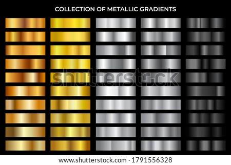 Gold, bronze, silver and black texture gradation background set. Vector metallic gradients. Elegant, shiny and bright gradient collection for chrome button, frame, ribbon, border, label design. Foto d'archivio ©