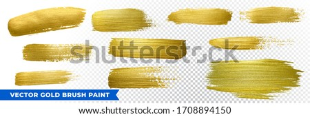 Gold brush paint with glitter texture. Vector golden stroke background for Christmas luxury design.