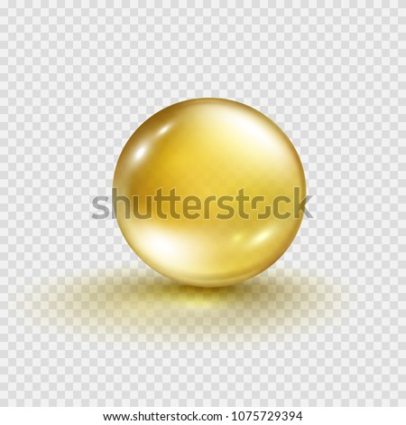 Gold bubble isolated on transparent background. Cosmetic vitamin capsule or oil pill. Golden glass ball template. Vector 3d serum collagen essence ball.