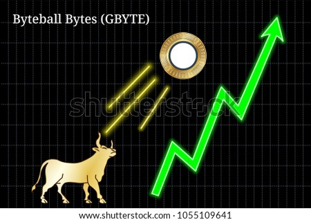 Gold bull, throwing up Byteball Bytes (GBYTE) cryptocurrency golden coin up the trend. Bullish Byteball Bytes (GBYTE) chart